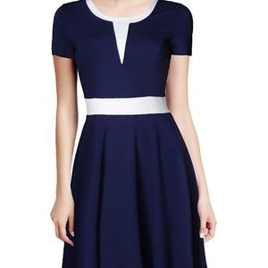 ModCloth navy blue color block dress short sleeve